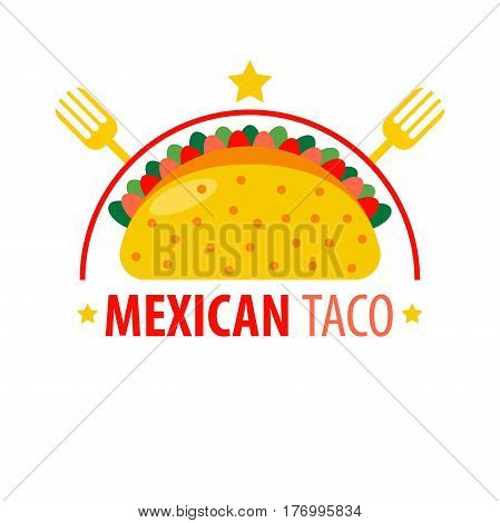 Mexican dish Taco logo sign isolated on white. Vector colorful illustration in flat design of traditional asian fast food icon with knife and fork. Oriental snack from takeaway menu concept.
