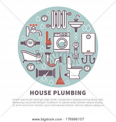 House plumbing round web banner for promotion vector illustration elements in blue circle isolated on white background. Home repair services advertisement poster. Bathroom equipment logotype