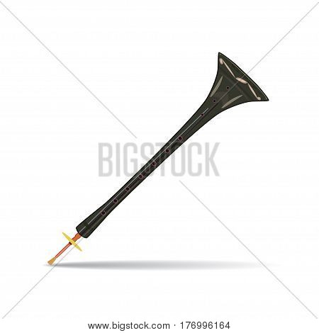Vector illustration of traditional turkish zurna isolated on white background. Wind musical instrument in flat style.