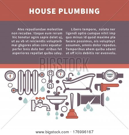 House plumbing information board vector illustration. Repairing service, radiator icon, bath and sink installation, water pipes fixing and cleaning symbols in flat style banner. Plumber for mending.