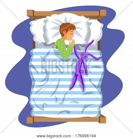 Boy sleep bedtime in his bedroom bed with toy bunny. Cartoon sleeping baby. Good night time. Bedtime. Vector Illustration