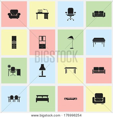 Set Of 16 Editable Furnishings Icons. Includes Symbols Such As Ergonomic Seat, Trestle, Restaurant Table And More. Can Be Used For Web, Mobile, UI And Infographic Design.