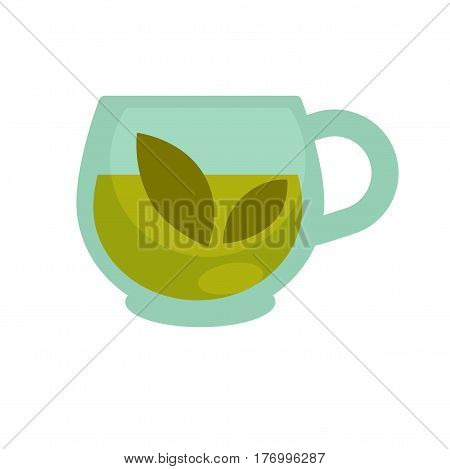 Clear glass cup with brewed green herbal tea isolated on white background. Healthy beverage for tonus and strength of whole organism. Traditional oriental drink for all meals vector illustration.