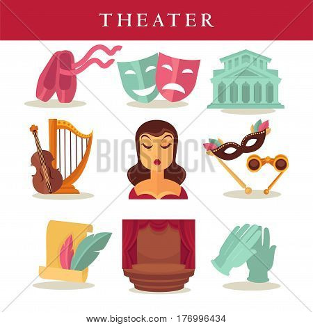 Theater flat poster of symbolic equipments on white. Pair of pink pointes, colorful masks, building, musical instruments, azure gloves, list with writing feather elements, stage with red curtains