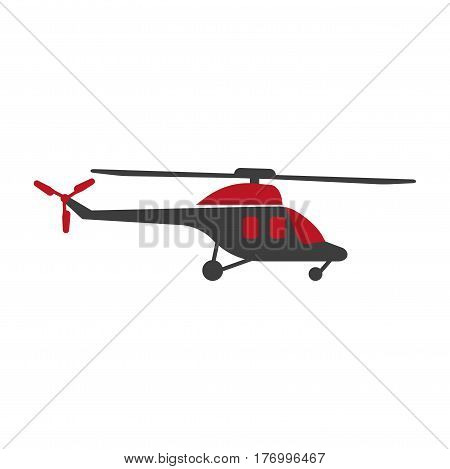Helicopter silhouette isolated in black and red colors. Fast mean of transportation vector logo icon with white background. Logo symbol of passenger plane with turning screw element on roof and tail