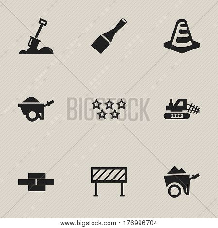 Set Of 9 Editable Building Icons. Includes Symbols Such As Notice Object , Handcart , Trolley. Can Be Used For Web, Mobile, UI And Infographic Design.