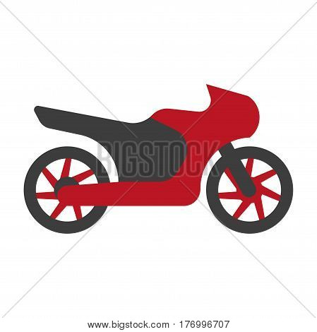 Kawasaki type of motorcycle logo silhouette flat sign isolated on white. Vector illustration of speedy mean of transportation with two wheels, seat for driver and passenger in red and black colors