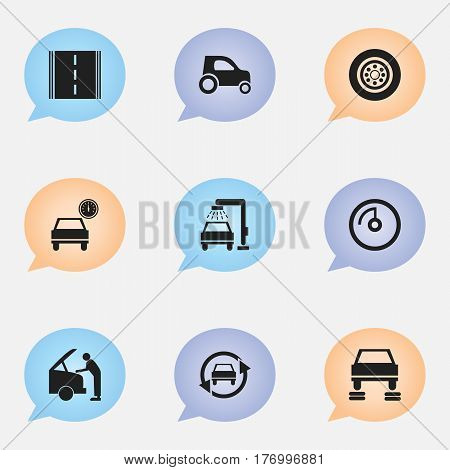 Set Of 9 Editable Transport Icons. Includes Symbols Such As Speed Display, Car Fixing, Automobile And More. Can Be Used For Web, Mobile, UI And Infographic Design.