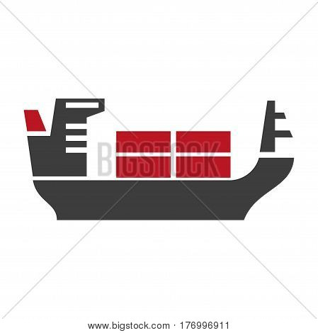 Ship with baggage silhouette vector logo icon on white. Detailed illustration in flat design of black big mean on transportation by water for carrying pieces of luggage. Nautical delivery transport