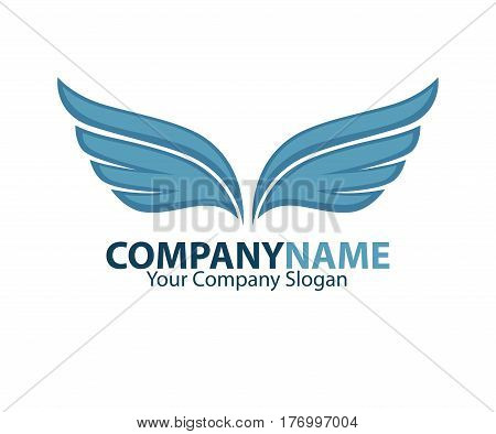 Company name emblem with blue bird wings drawn on white background. Vector illustration of business card and partnership slogan. Symbol of flight, speed moving in the air, quickly delivery service