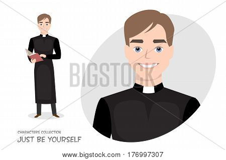 Priest in cassock with a Bible in cartoon style. The Holy Father reads a prayer, holds a wedding ceremony.