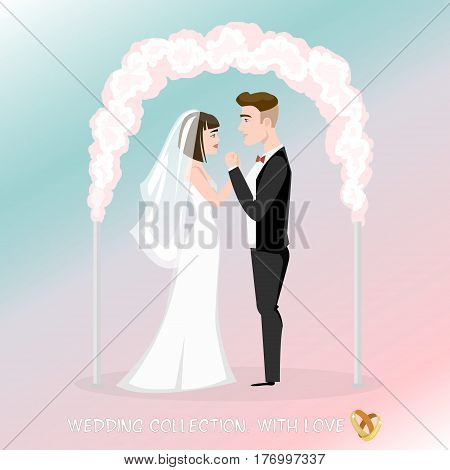 Groom with bride under the wedding arch. Wedding ceremony, oath of newlyweds, the couple gently look at each other.