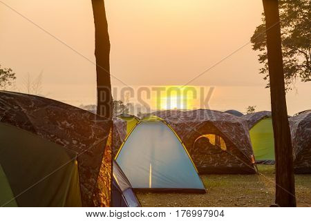 Tent in Camping. Recreation site.