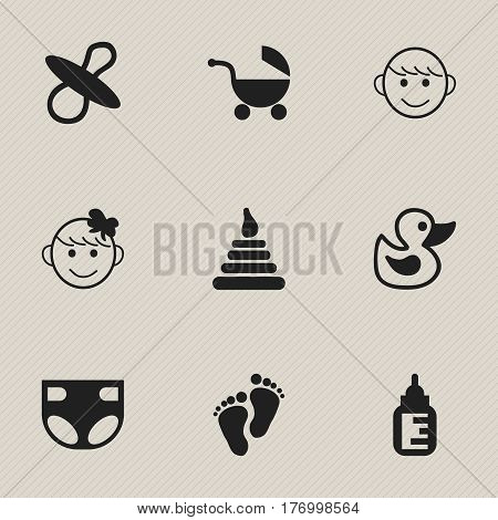 Set Of 9 Editable Baby Icons. Includes Symbols Such As Soothers, Nappy, Nursing Bottle And More. Can Be Used For Web, Mobile, UI And Infographic Design.
