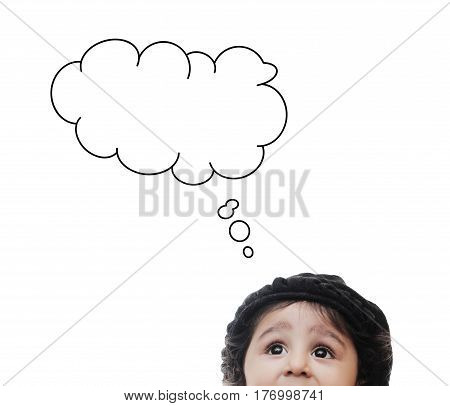 Half head of adorable child with thinking Cloud While Standing Before A White Background; Thinking Process