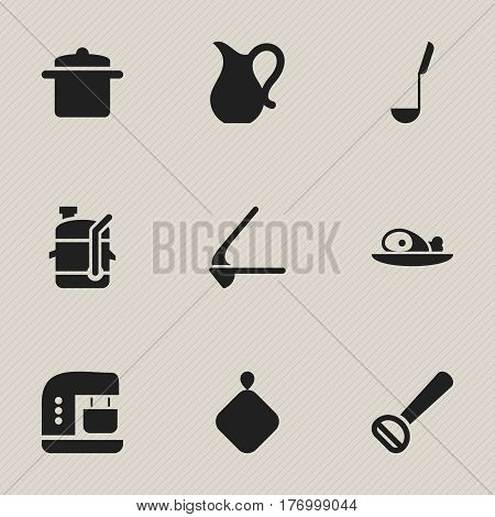 Set Of 9 Editable Cooking Icons. Includes Symbols Such As Pot-Holder, Crusher, Husker And More. Can Be Used For Web, Mobile, UI And Infographic Design.