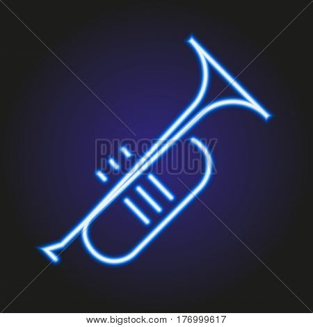 Trumpet neon blue glowing of vector illustration