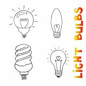 Light bulbs icon set. concept of big ideas inspiration, innovation, invention, effective thinking. CFL lamp.  Isolated. Vector illustration.  Idea symbol. Vector. sketch . Hand-drawn doodle sign. poster