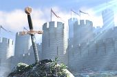 3D illustration of legend about sword in a stone poster