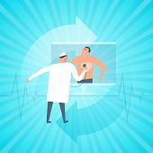 Doctor exams patient's heartbeat remotely by computer. Online tele medicine flat concept illustration. Medic with stethoscope listens heart at monitor. Telemedicine telehealth vector design element. poster