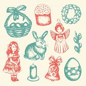 Happy Easter - color vector hand drawn illustrative composition. Realistic basket, egg, cake, angel, chaplet, rabbit, violet willow, girl, candle, bell, chicken. poster