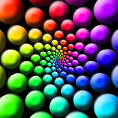 abstract twirled rainbow colored balls illustration for a background poster