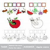 Vector rebus game for children. Easy educational kid game. Simple game level. Find solution and write the hidden word Apple Worm poster