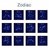 Zodiac constellations -  Leo, Virgo, Scorpio, Libra, Aquarius, Sagitarius Pisces Capricorn Taurus Aries Gemini Cancer Vector illustration poster