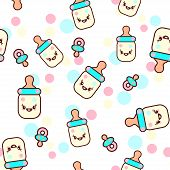Vector illustration of the childish bottles with the funny faces seamless pattern. Trendy Kawaii emoticons for print on t-shirt, one piece body gift for kids. poster