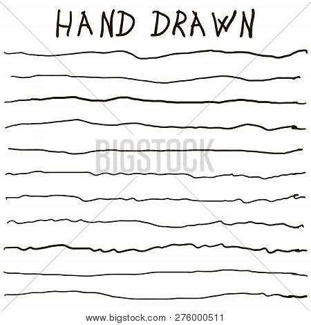 crooked uneven hand drawn lines, vector horizontal curves lines strip hand drawn set poster