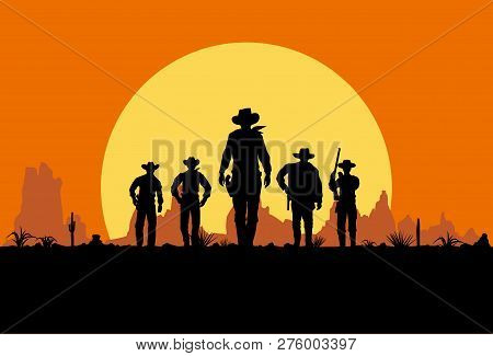 Silhouette Of Five Cowboys Walking Forward, Vintage Sign