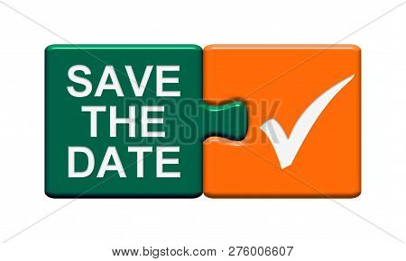 Button Green And Orange: Save The Date