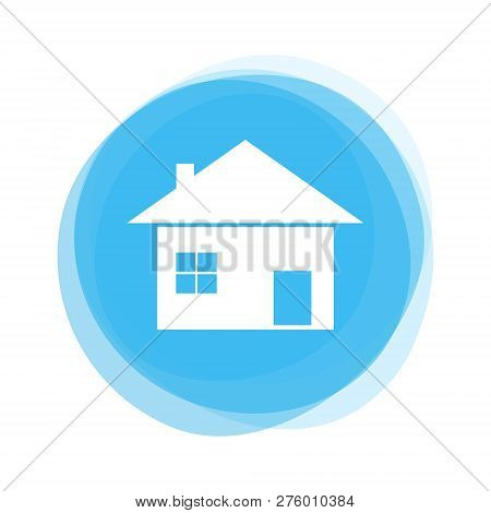 Round Light Blue Button With House Icon Showing Real Estate