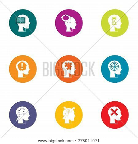 Conscious mind icons set. Flat set of 9 conscious mind icons for web isolated on white background poster