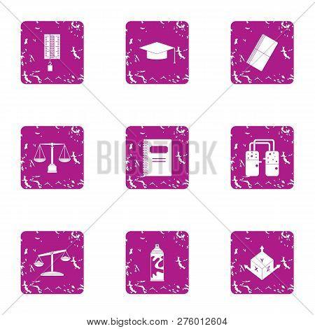 Informed Decision Icons Set. Grunge Set Of 9 Informed Decision Icons For Web Isolated On White Backg