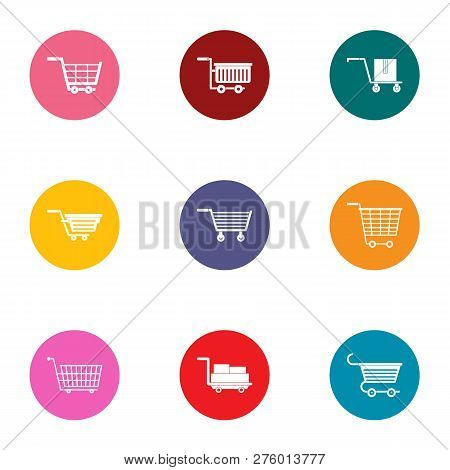 Pushchair Icons Set. Flat Set Of 9 Pushchair Icons For Web Isolated On White Background