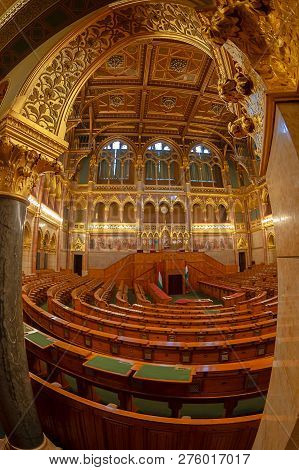 Budapest, Hungary - December 19, 2018: Interior Of The Parliament Of Budapest, The Seat Of The Hunga