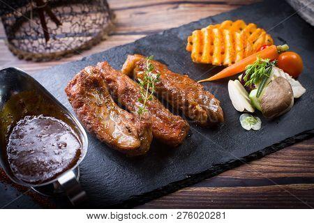 Australian Roast Beef Rib In A Dark Dish