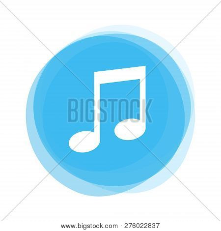 Isolated Light Blue Round Button With Music Note Icon