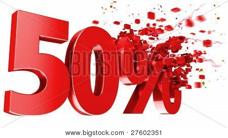 Explosive 50 Percent Off On White Background