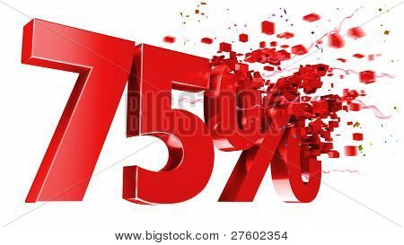 Explosive 75 Percent Off On White Background