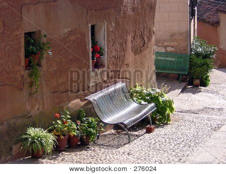 Bench In An Old Town