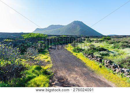 Walking Trail Road On The Vulcano La Corona Near Ye Village, North Of Lanzarote, Canary Islands, Spa