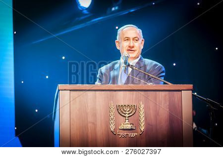 Jerusalem, Israel. June 14, 2016. Prime Minister Of Israel Benjamin Netanyahu Giving An Address At T