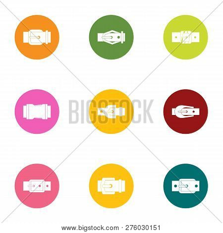 Metal buckle icons set. Flat set of 9 metal buckle icons for web isolated on white background poster