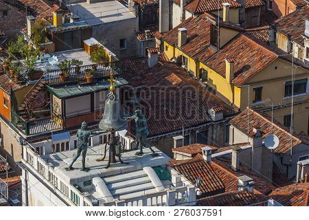 View To Famous Clocktower At San Marco Place In Venice, ,italy