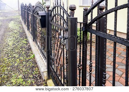 Wrought Iron Fence. Black Metal Fence With Gate