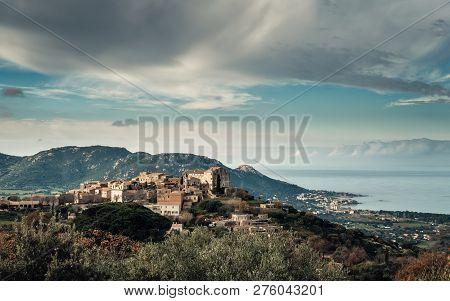 Ancient Mountain Village Of Pigna In Corsica