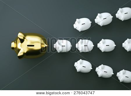 Golden Piggy Bank As Row Leader For The Right Direction Of Wealth, Investment And Development Concep