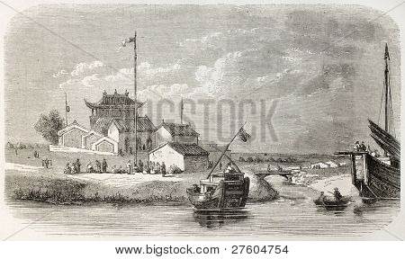 Ta-Kou village, China (Hai river mouth). Created by Freeman, published on L'Illustration, Journal Universel, Paris, 1858 poster